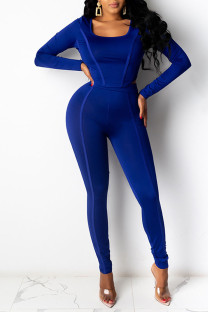 Blue Casual Sportswear Solid Split Joint U Neck Long Sleeve Two Pieces