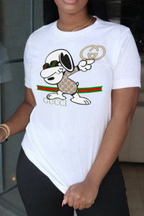 White Street Cute Character Print Split Joint O Neck T-Shirts