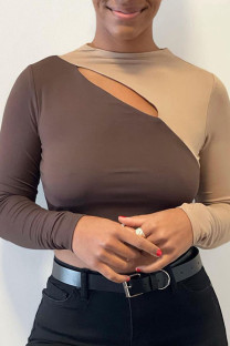 Khaki Sexy Solid Hollowed Out Split Joint O Neck Tops