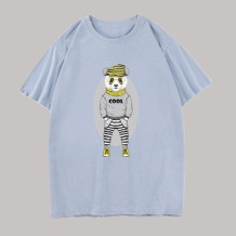 Baby Blue Fashion Casual Character Split Joint O Neck Tops