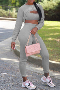 Grey Sexy Solid Hollowed Out Split Joint Asymmetrical O Neck Long Sleeve Three Pieces