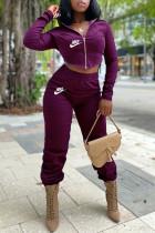 Purple Fashion Sportswear Print Split Joint Hooded Collar Long Sleeve Two Pieces