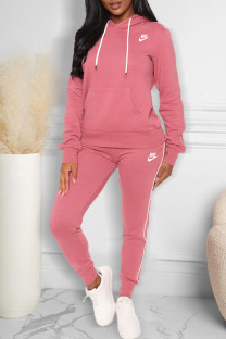 Pink Fashion Casual Print Split Joint Hooded Collar Long Sleeve Two Pieces