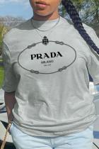 Grey Casual Street Print Split Joint O Neck T-Shirts
