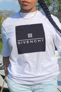 White Casual Street Print Split Joint O Neck T-Shirts