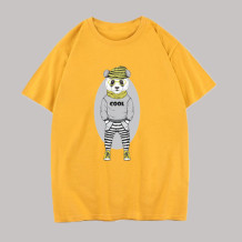 Yellow Fashion Casual Character Split Joint O Neck Tops