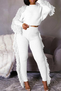 White Casual Street Solid Tassel Split Joint O Neck Long Sleeve Two Pieces