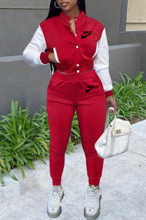 Red Fashion Casual Embroidery Split Joint O Neck Long Sleeve Two Pieces