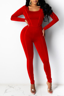 Red Casual Sportswear Solid Split Joint U Neck Long Sleeve Two Pieces