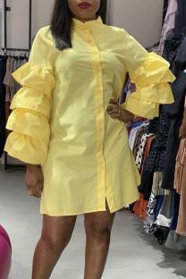 Yellow Casual Solid Split Joint Mandarin Collar Straight Dresses