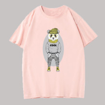 Pink Fashion Casual Character Split Joint O Neck Tops