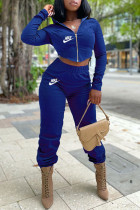Royal Blue Fashion Sportswear Print Split Joint Hooded Collar Long Sleeve Two Pieces