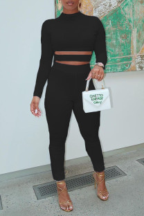 Black Sexy Solid Hollowed Out Split Joint O Neck Regular Jumpsuits