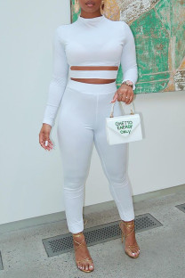 White Sexy Solid Hollowed Out Split Joint O Neck Regular Jumpsuits