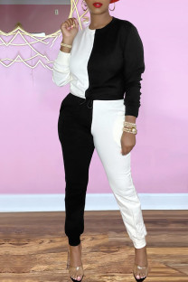 Black And White Casual Solid Split Joint O Neck Long Sleeve Two Pieces