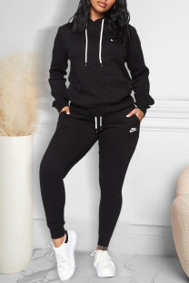 Black Fashion Casual Print Split Joint Hooded Collar Long Sleeve Two Pieces