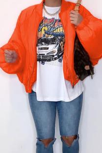 Tangerine Casual Solid Split Joint Zipper Zipper Collar Outerwear