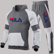 Dark Gray Fashion Sportswear Print Letter Hooded Collar Long Sleeve Two Pieces