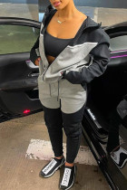 Black Gray Fashion Casual Solid Split Joint Hooded Collar Long Sleeve Two Pieces