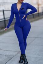 Blue Fashion Casual Print Basic Zipper Collar Skinny Jumpsuits
