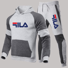 Light Gray Fashion Sportswear Print Letter Hooded Collar Long Sleeve Two Pieces