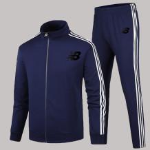 Navy Blue Fashion Sportswear Print Letter Zipper Collar Long Sleeve Two Pieces