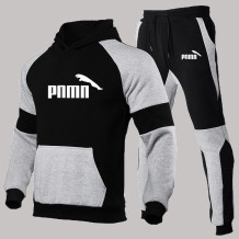 Black Gray Fashion Sportswear Print Split Joint Hooded Collar Long Sleeve Two Pieces