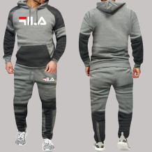 Grey Fashion Sportswear Print Split Joint Letter Hooded Collar Long Sleeve Two Pieces