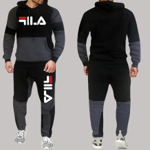 Black And White Fashion Sportswear Print Split Joint Letter Hooded Collar Long Sleeve Two Pieces