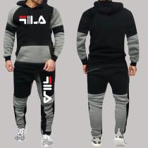 Matte Black Fashion Sportswear Print Split Joint Letter Hooded Collar Long Sleeve Two Pieces