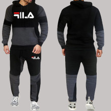 Black Fashion Sportswear Print Split Joint Letter Hooded Collar Long Sleeve Two Pieces