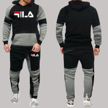 Black Gray Fashion Sportswear Print Split Joint Letter Hooded Collar Long Sleeve Two Pieces