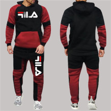 Red Fashion Sportswear Print Split Joint Letter Hooded Collar Long Sleeve Two Pieces