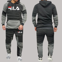 Dark Gray Fashion Sportswear Print Split Joint Letter Hooded Collar Long Sleeve Two Pieces