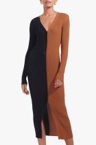 Black Brown Casual Solid Split Joint Buckle V Neck Straight Dresses
