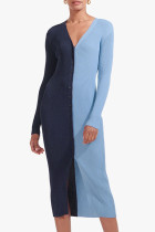 Blue Casual Solid Split Joint Buckle V Neck Straight Dresses