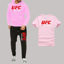 Pink Fashion Sportswear Print Split Joint Letter Hooded Collar Long Sleeve Three Pieces
