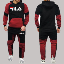Black Red Fashion Sportswear Print Split Joint Letter Hooded Collar Long Sleeve Two Pieces