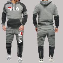 Light Gray Fashion Sportswear Print Split Joint Letter Hooded Collar Long Sleeve Two Pieces