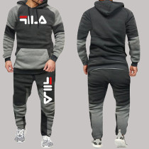 Gray White Fashion Sportswear Print Split Joint Letter Hooded Collar Long Sleeve Two Pieces