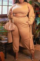 Khaki Fashion Casual Solid Cardigan Vests Pants O Neck Plus Size Three-piece Set