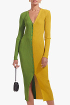 Green Yellow Casual Solid Split Joint Buckle V Neck Straight Dresses