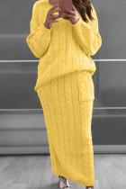 Golden Yellow Fashion Casual Solid Split Joint O Neck Long Sleeve Two Pieces