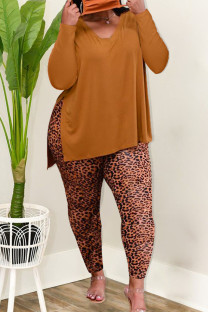 Tangerine Red Casual Solid Split Joint Slit V Neck Long Sleeve Two Pieces