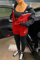 Black Red Fashion Casual Embroidery Split Joint Hooded Collar Long Sleeve Two Pieces