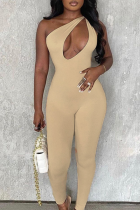 Apricot Sexy Solid Hollowed Out One Shoulder Skinny Jumpsuits