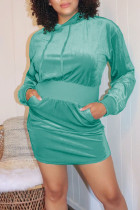 Green Casual Solid Split Joint Hooded Collar Long Sleeve Dresses