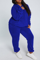 Royal Blue Fashion Casual Solid Basic Hooded Collar Long Sleeve Two Pieces