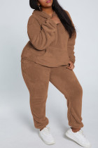 Coffee Fashion Casual Solid Basic Hooded Collar Long Sleeve Two Pieces