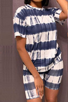 Dark Blue Polyester Fashion Sexy adult Ma'am Striped Print Two Piece Suits pencil Short Sleeve Two Pieces